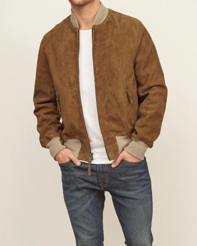 Genuine Suede Bomber Jacket by A&F
