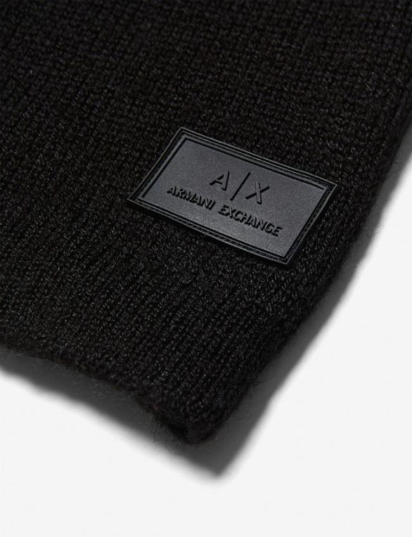 RUBBER LOGO PATCH BEANIE by ARMANI EXCHANGE
