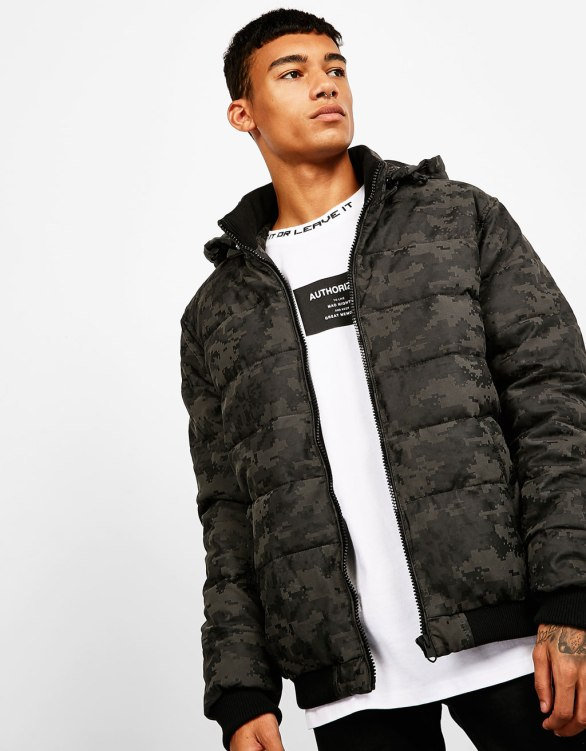 Bershka - Quilted camouflage leather-effect jacket