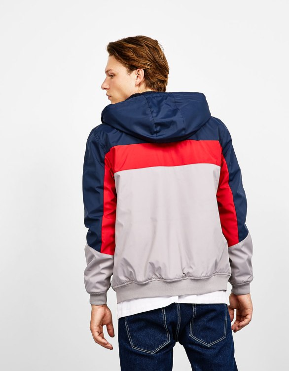 Bershka - Tricolor polyester jacket with hood