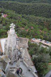 Tibidabo Park and Outside View of Sagrat Cor Church