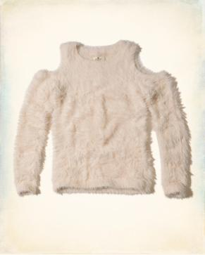 Cold Shoulder Fluffy Sweater by HOLLISTER
