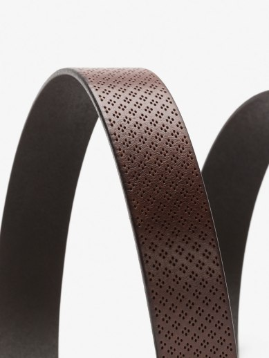 CALFSKIN BELT WITH PERFORATED DIAMONDS