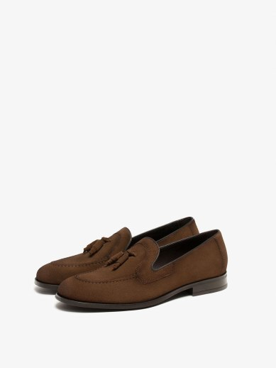 KHAKI TASSELED LOAFERS