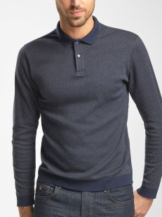 POLO SHIRT WITH HERRINGBONE DETAIL