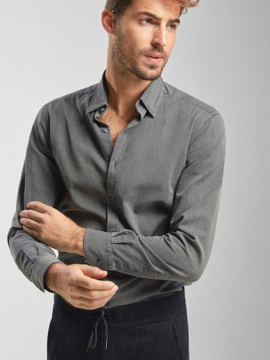 SLIM FIT GREY DENIM SHIRT WITH HERRINGBONE DETAIL